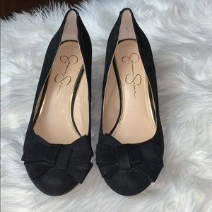 Jessica Simpson Sheryl black suede wedge heels